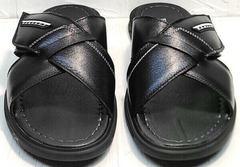 Кожаные сандали шлепанцы на липучке мужские Brionis 155LB-7286 Leather Black.