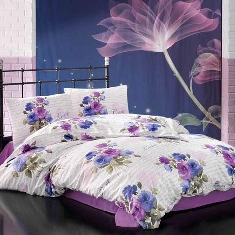 Евро постельное белье ранфорс Blancia Lila