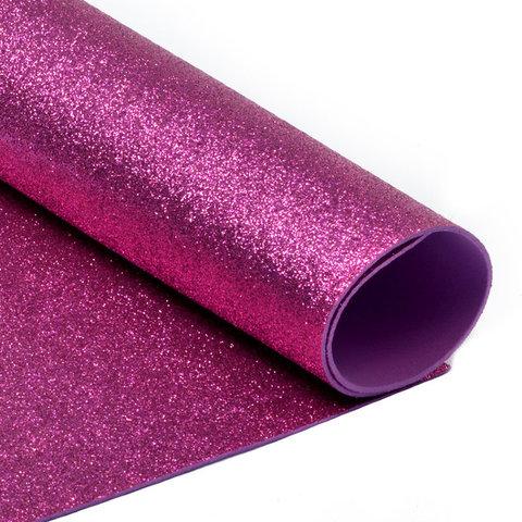Глиттерный фоамиран. Цвет: ярко-розовый