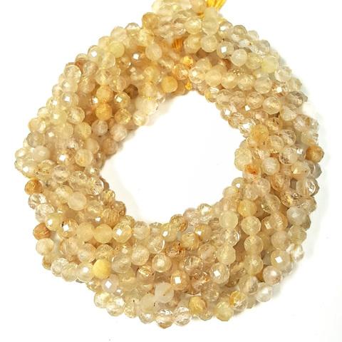 Бусины рутиловый кварц золотой A граненый 4-4,3 мм цена за 50 бусин (~19 см)