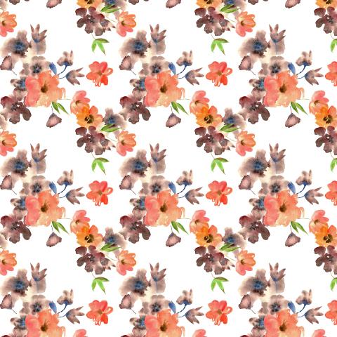 Оранжевые и коричневые цветы акварелью