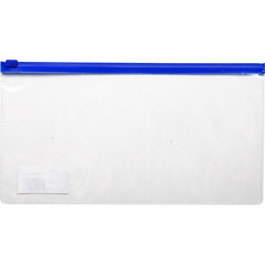 Папка-конверт на молнии для билетов прозрачная 0.11 мм (250х130 мм)