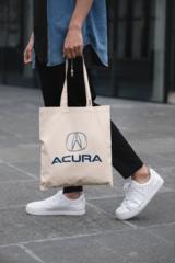 Мужская сумка-шоппер с принтом Акура (Acura) бежевая 001
