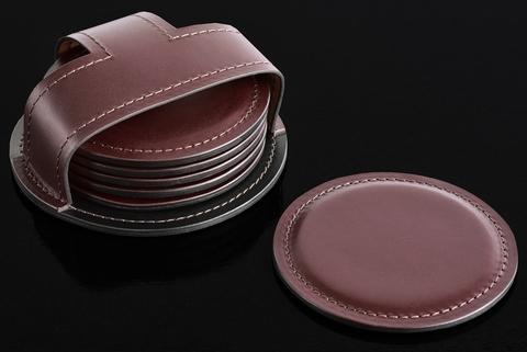 Набор костеров (6 шт) PREMIUM из кожи  Full Grain Brown/Cuoietto черный