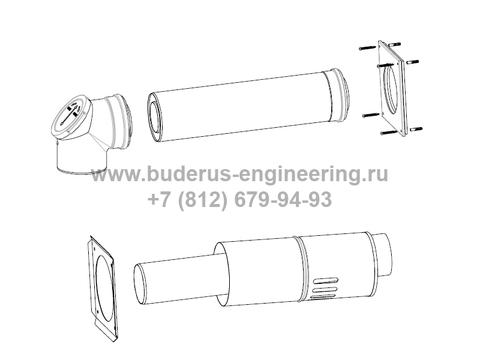 Комплект дымохода горизонтальный ∅80/125 для котла Buderus Logamax Plus GB172i