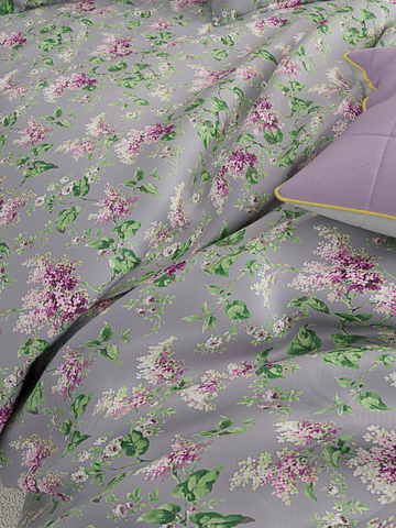 Простынь на резинке  -Сирень- натяжная 90х200х26 см 1,5-спальная
