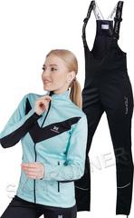 Женский утеплённый лыжный костюм Nordski Base Mint-Black с высокой спинкой