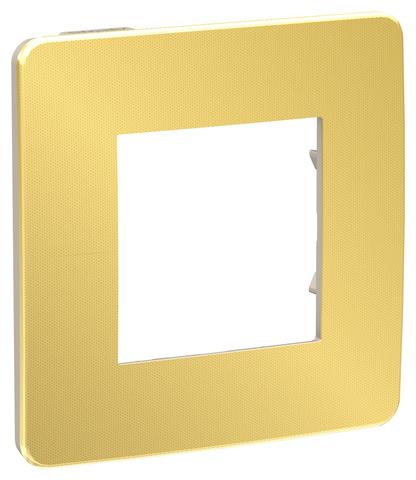 Рамка на 1 пост. Цвет Золото/бежевый. Schneider Electric Unica Studio. NU280260