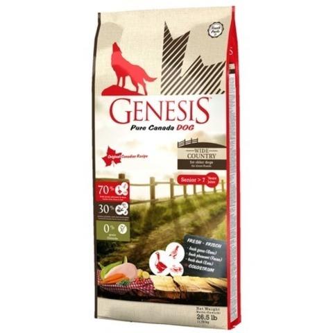 Genesis Pure Canada Wide Country Senior для пожилых собак всех пород с мясом гуся, фазана, утки и курицы, 11,79 кг.