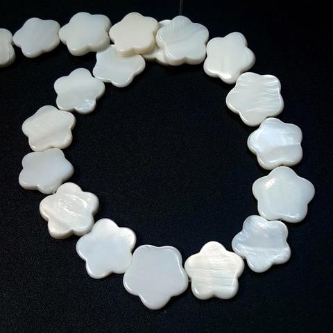 Бусина Цветочек из перламутра 14,5 мм цвет белый 1 шт