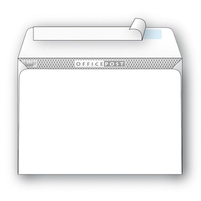 Конверт OfficePost С5 80 г/кв.м белый стрип с внутренней запечаткой (1000 штук в упаковке)