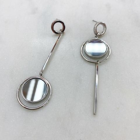 Серьги-подвески асимметрия с зеркальными вставками (серебристый) ш925