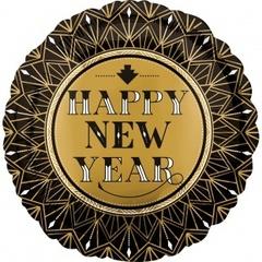 К 18 Круг, С Новым Годом (золотые грани), Черный, 1 шт.