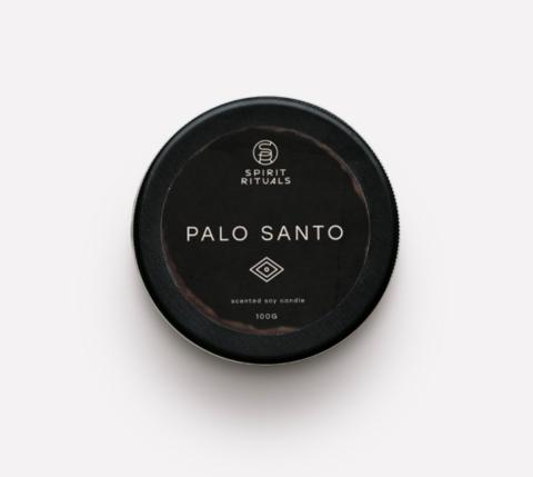 Соевая свеча с эфирным маслом Пало Санто с кристаллами турмалина и лунного камня