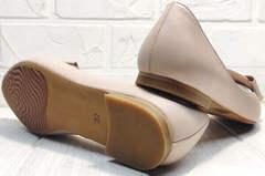 Кремовые балетки туфли на низком ходу под платье Wollen G192-878-322 Light Pink.