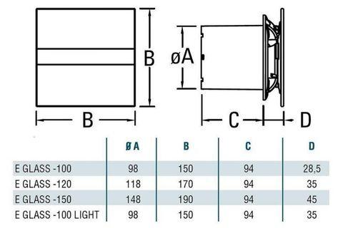 Накладной вентилятор Cata E 150 G