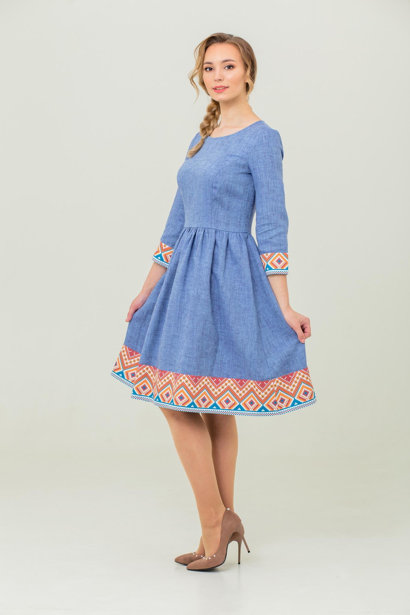 платье в русском стиле бохо Синий меланж