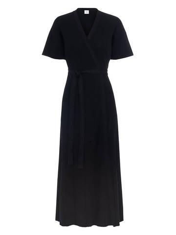 Женское платье-кимоно с поясом черного цвета из вискозы - фото 1