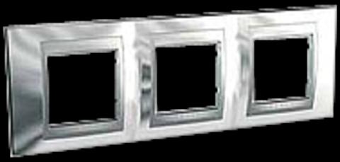 Рамка на 3 поста. Цвет Хром глянцевый-алюминий. Schneider electric Unica Top. MGU66.006.010