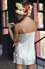 Пижама натуральный шёлк Mia-Mia молочный (шорты+топ)