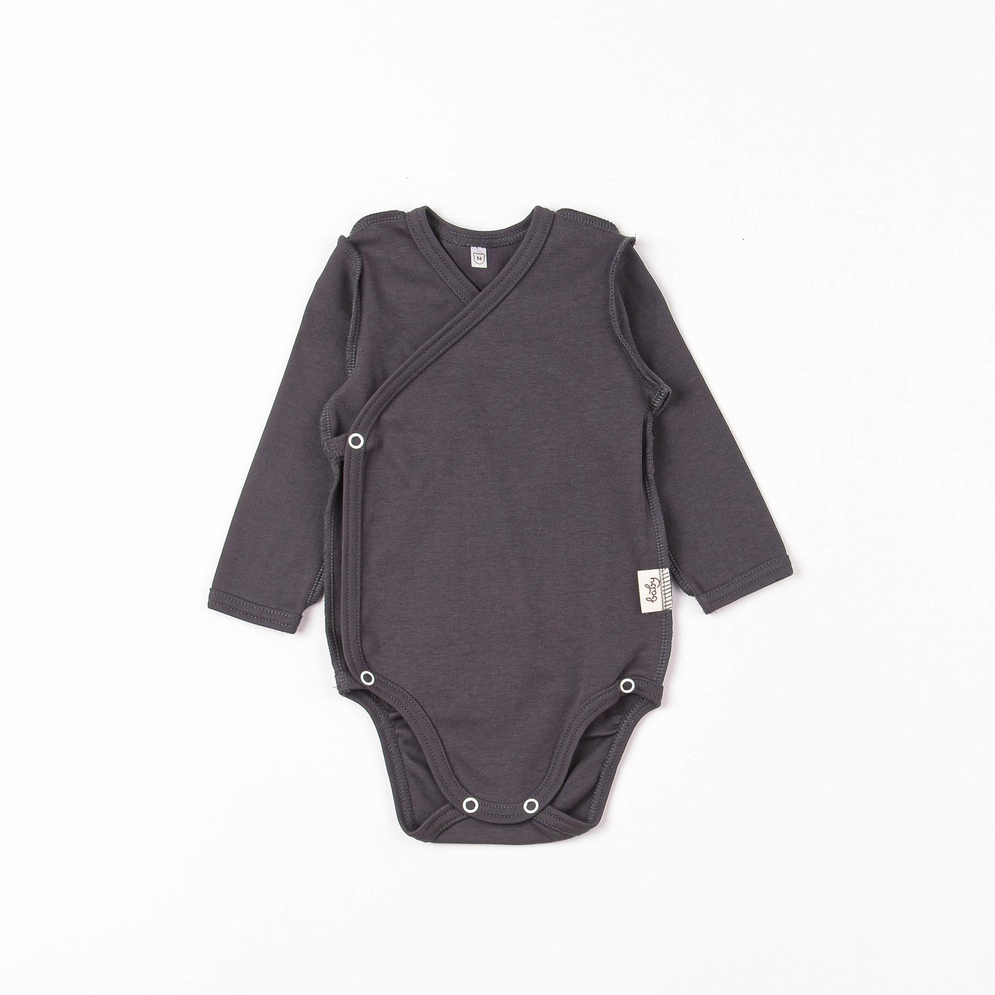 Long-sleeved kimono bodysuit 0+, Black