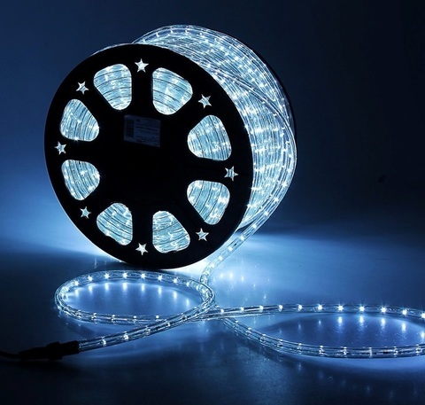 Дюралайт светодиодный, двухпроводной, круглый 11 мм, Белый, 36 LED/м, кратность резки 2 метра