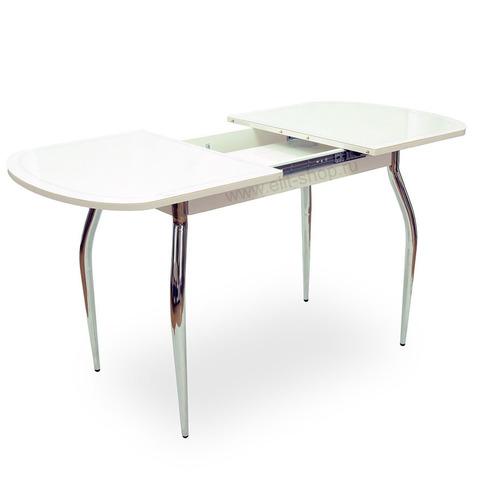 Стол СОЛЬДИ КОЖА Е-20 белый / стекло белое / подстолье белое / исполнение 2 / опора №1 хром / 110(170)х74см