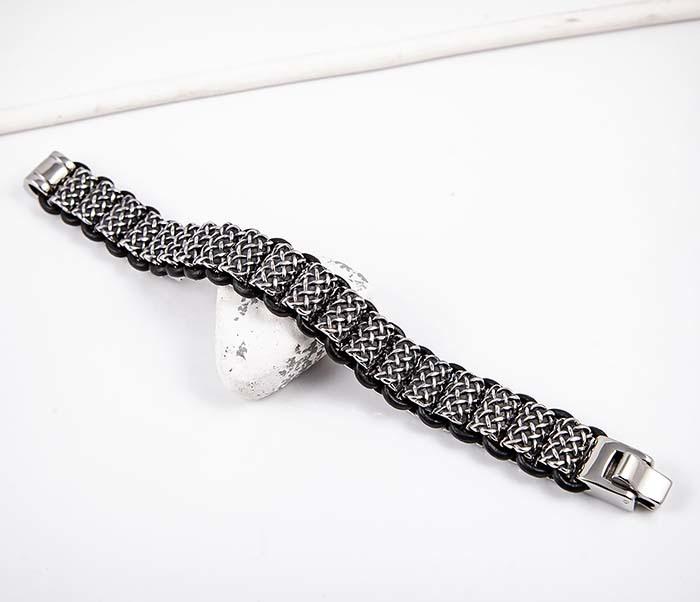 BM600 Тяжелый стальной браслет с кожаным шнуром фото 02