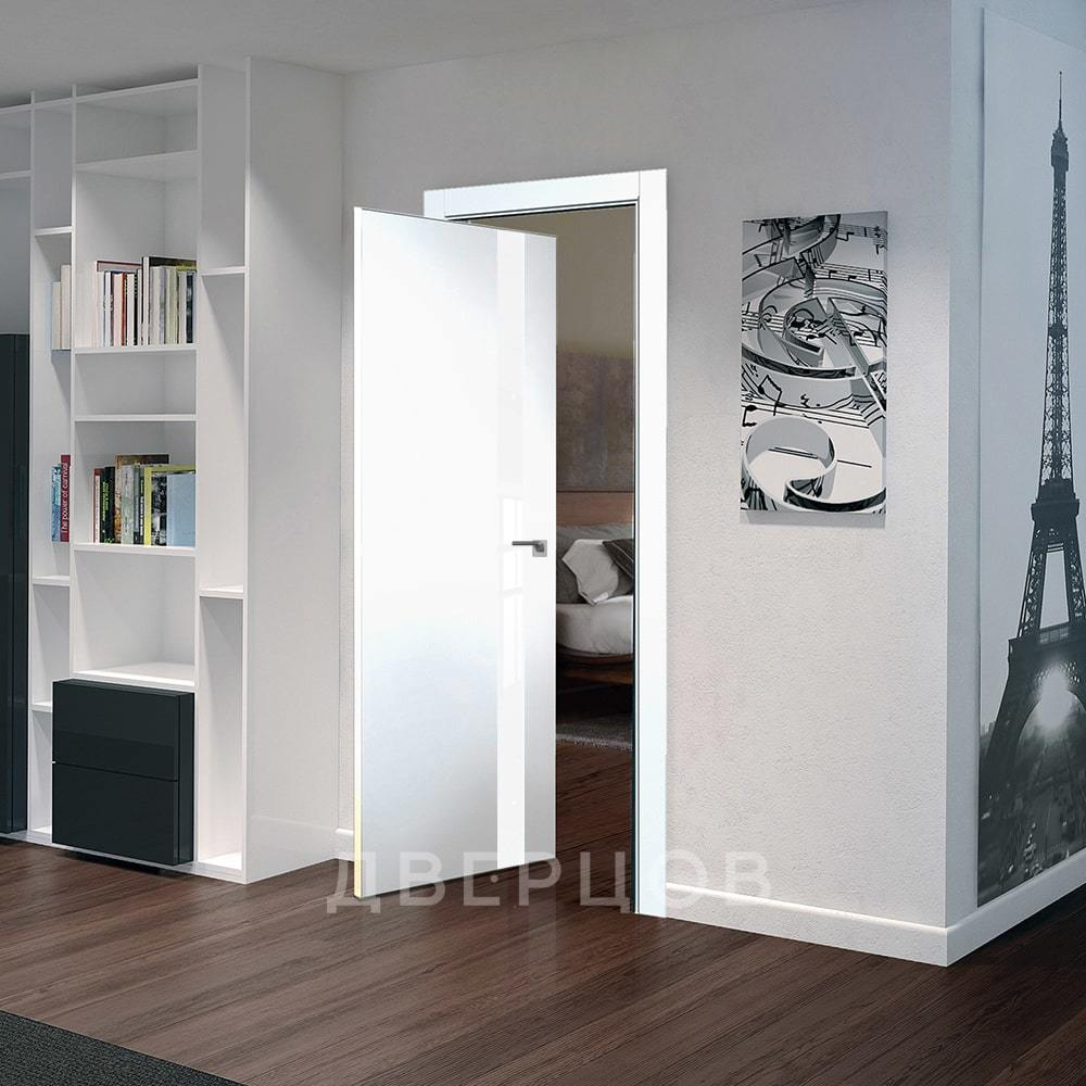 Системы открывания Рото дверь 6E аляска с белым стеклом алюминиевая матовая кромка с 4-х сторон 6E-alyaska-belyy-lak-mat-khrom-dvertsov.jpg