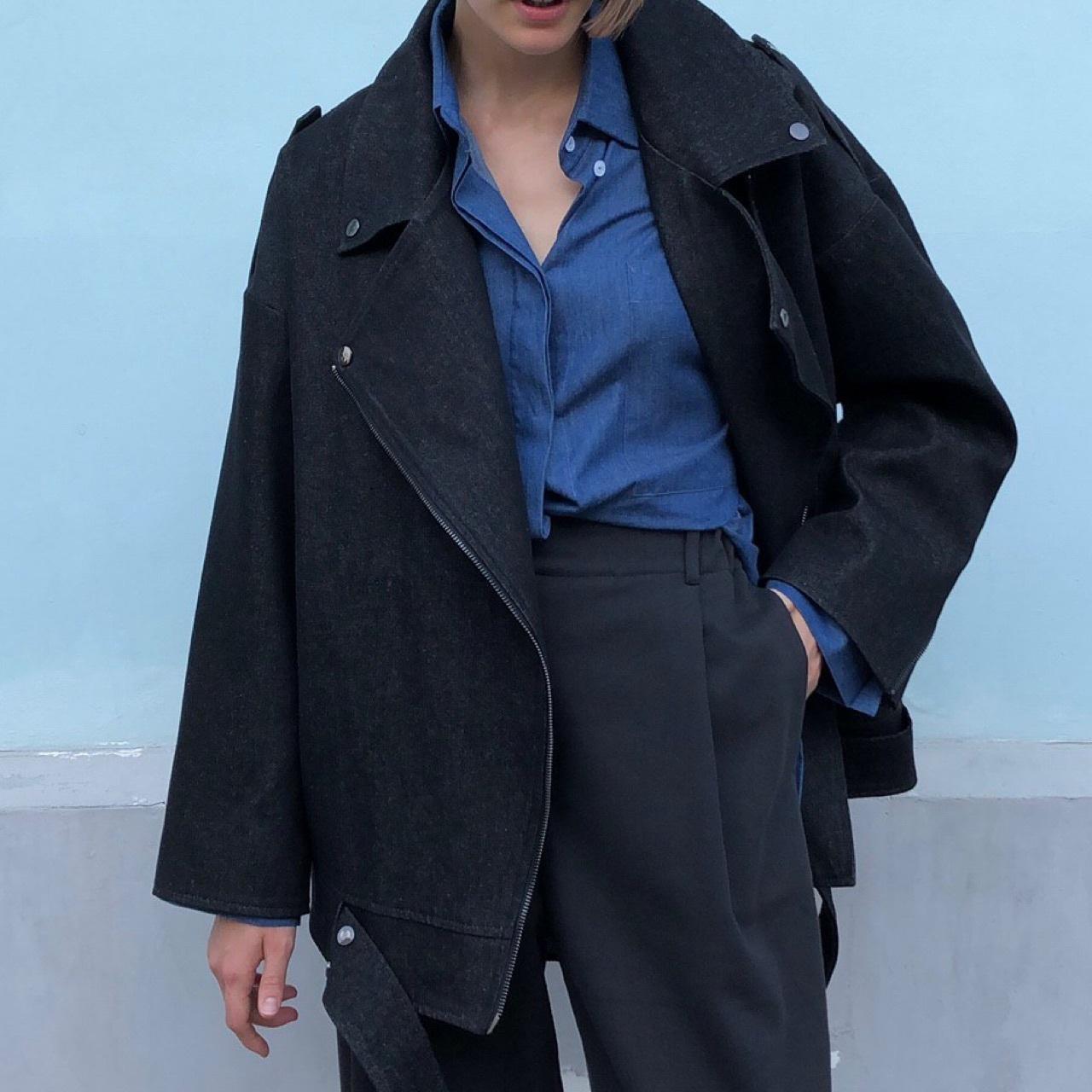Рубашка оверсайз в мужском стиле, синий хлопок