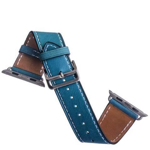 Ремешок кожаный COTEetCI W8 DECOROUS (WH5208-BL) для Apple Watch 44мм/ 42мм (классическая пряжка) Marine Blue - Голубой