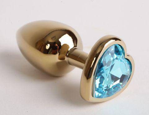 Золотистая анальная пробка среднего размера с голубым стразиком-сердечком - 8 см.