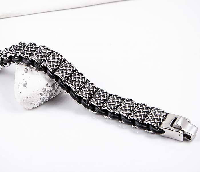 BM600 Тяжелый стальной браслет с кожаным шнуром фото 03