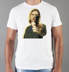 Футболка с принтом Курт Кобейн, Нирвана (Nirvana, Kurt Cobain) белая 007