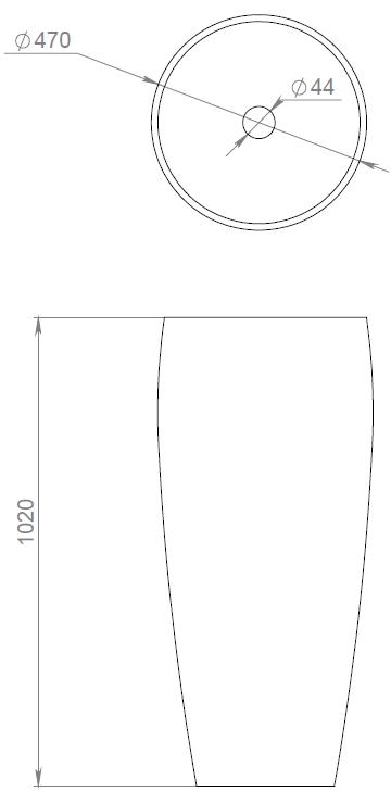 Накладная раковина ARMONIA 203 S-Stone (SOLIX) Матовая 470х470х900
