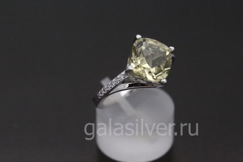 Кольцо с кварцем Оливин и фианитом из серебра 925