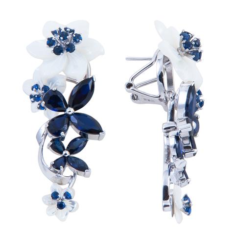 Серьги с цветами из белого перламутра и сапфиром Арт.2212бпс