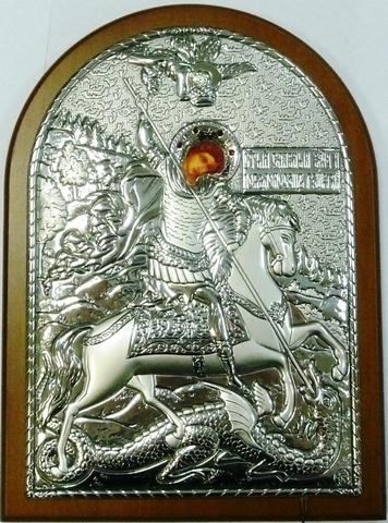 Серебряная икона Святого Георгия Победоносца 16х12см