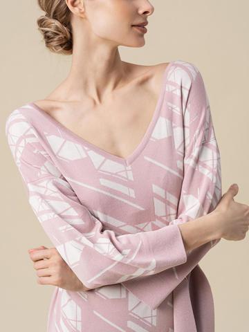 Женское платье светло-розового цвета из шелка и вискозы - фото 5