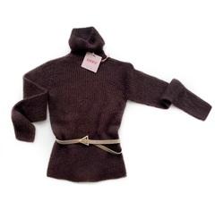 Шерстяной свитер с высоким горлом (Шоколад)
