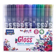 Mazari Gloss набор маркеров для скетчинга и декора с эффектом металлик пуля 1-2 мм - 12 цветов (акриловые)