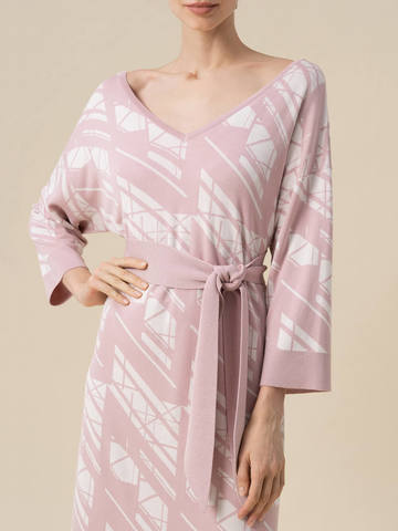 Женское платье светло-розового цвета из шелка и вискозы - фото 3