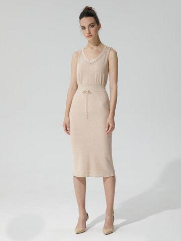 Женская двухслойная юбка-карандаш с люрексом золотого цвета - фото 2