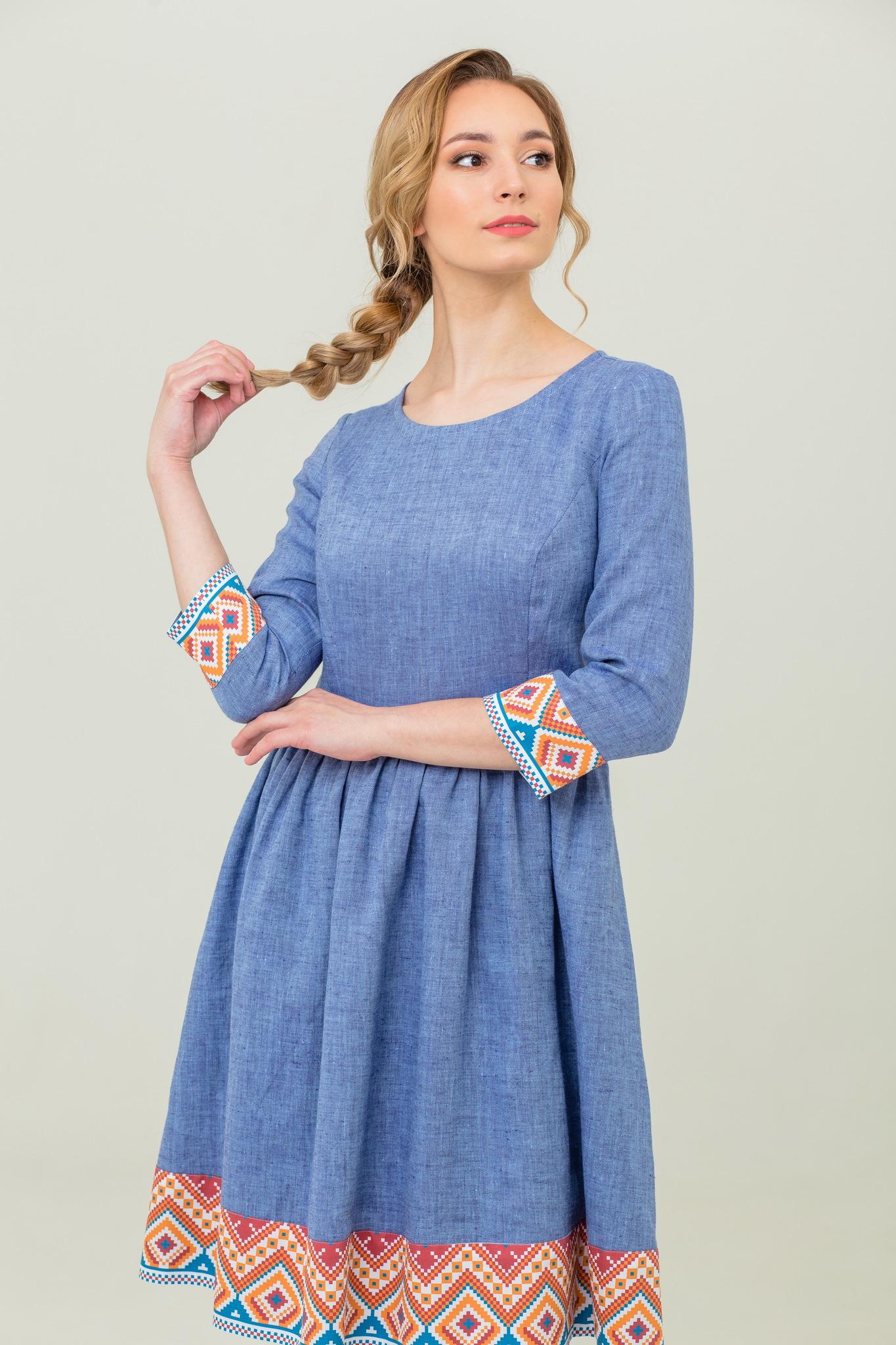платье из льна славянский орнамент бохо Синий меланж