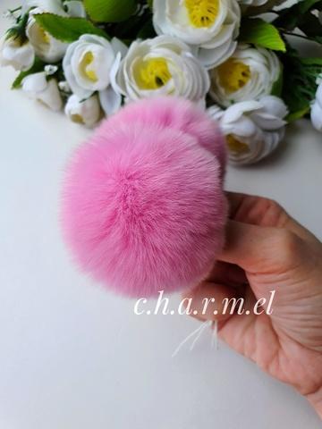 Помпон из натурального меха, Кролик, 5-6 см, цвет Азалия, 2 штуки
