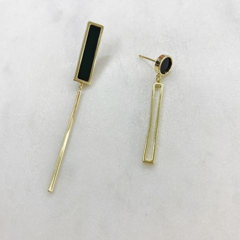 Серьги-подвески асимметричные (золотистый) ш925