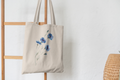 Сумка-шоппер с принтом Цветы (Васильки) бежевая 001