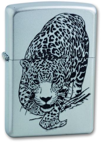 Зажигалка ZIPPO Classic Satin Chrome™ с изображением леопарда ZP-205 LEOPARD