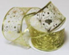 Лента упаковочная органза  Ширина 63 мм. Цвет золото  (выбрать рисунок)