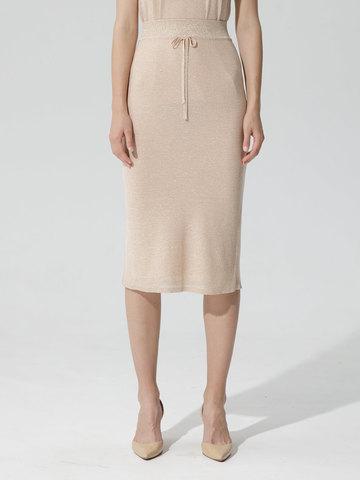 Женская двухслойная юбка-карандаш с люрексом золотого цвета - фото 4